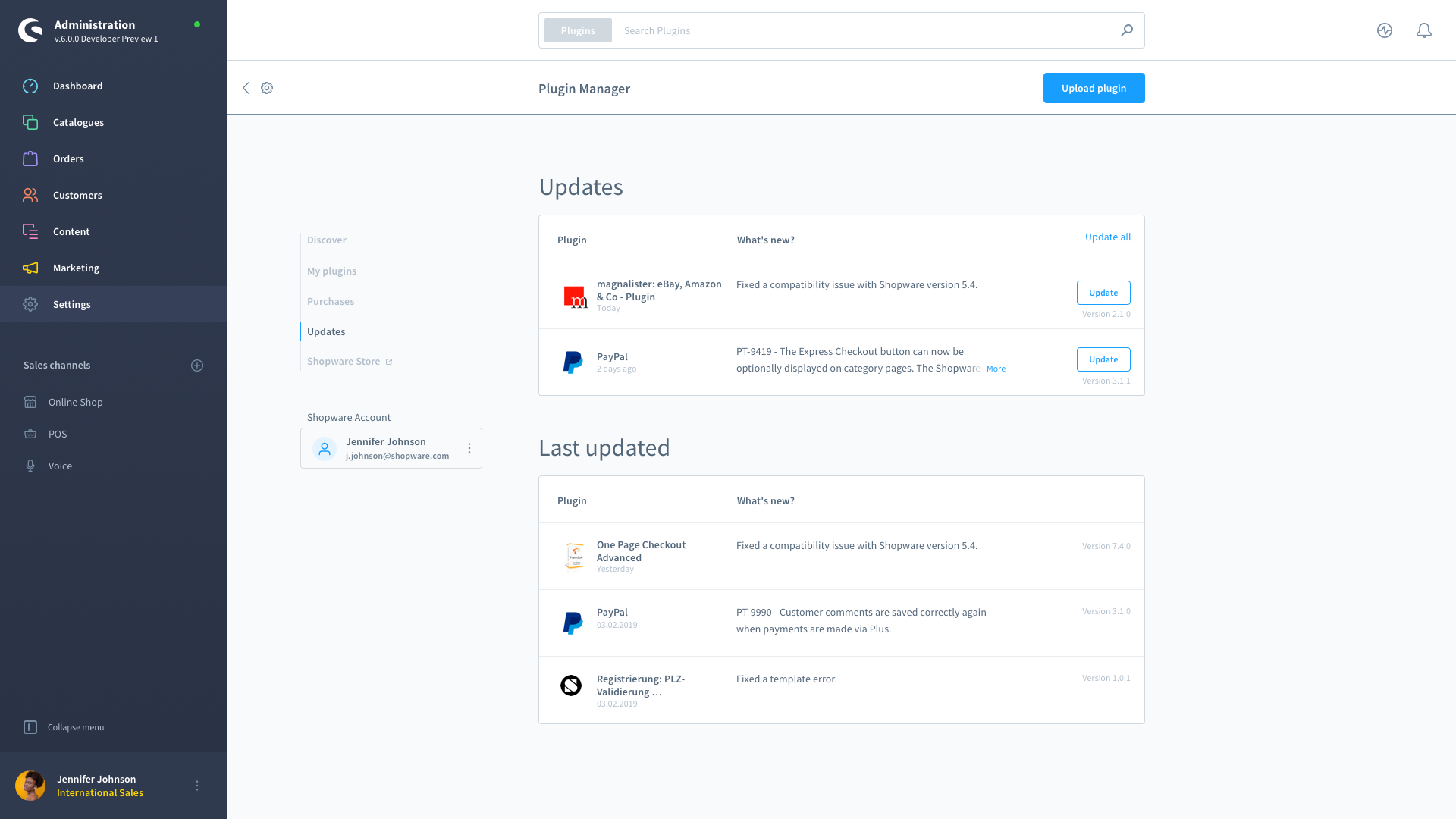 shopware 6 dashboard